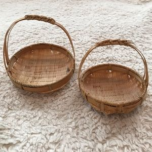 Bundle of 2 Tiny Woven Baskets w/ Handles